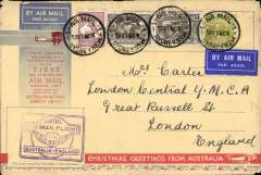 "(Australia) Triple rated Sydney to England airmail cover, no arrival ds (only a few were b/s in London, see Eustis #222), carried on the first All Australian Airmail to England, franked 3/4d inc SG 139 x2, special violet winged"" cachet, souvenir greetings cover 19x12cm. Plane crashed at Alor Star, then carried by Kingsford Smith to London."