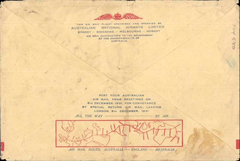"""(Australia) Triple rated Sydney to England airmail cover, no arrival ds (only a few were b/s in London, see Eustis #222), carried on the first All Australian Airmail to England, franked 3/4d inc SG 139 x2, special violet winged"""" cachet, souvenir greetings cover 19x12cm. Plane crashed at Alor Star, then carried by Kingsford Smith to London."""