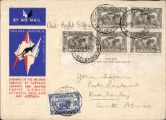 (Australia) First acceptance of mail for South Africa, Melbourne to Kimberley 28/12, via Cairo 22/12, carried on first regular Imperial Airways/Qantas Australia-England service, souvenir red/white/blue 'Kangaroo' company cover, franked 2/9d inc 1931 KS 6d x5, canc Melbourne 8/12 cds 7/12, ms 'Australia-Egypt-S.Africa'. Correctly rated 2/9d to S Africa for carriage all he way by air on the Australia-UK service to Cairo 22/12 and the (London)-Cairo-Cape Town service (see Wingent p130). Super item with great routing.