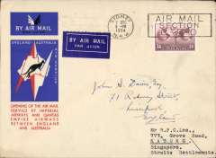 "(Australia) Scarcer double rated airmail cover, Imperial Airways/Qantas, Sydney to Singapore, carried on the first regular service, Australia to England, official blue/black/white souvenir ""Kangaroo"" cover, franked 1/6d (2x  1/2oz rate of 9d, see Wingent p130). Forwarded to Liverpool, UK, by surface."