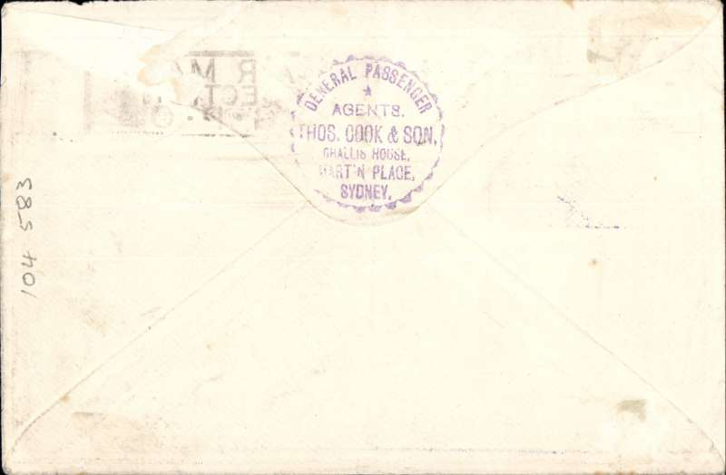 """(Australia) Return of the FIRST Imperial Airways experimental flight, Sydney to London, correctly rated 1/11d inc SG 123, no arrival ds (applied to registered mail only, souvenir """"All The Way"""" cover with IAW winged logo and route details, ANA/Qantas/Imperial Airways."""