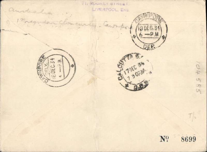 (Australia) Rare first acceptance of mail for India, Cloncurry to Cawnpore 18/12, via Calcutta 17/12, for carriage on first return of the Singapore-Australia extension of the Imperial Airways/Qantas Australia-England service, souvenir red/white/blue 'Kangaroo' company cover, correctly rated 1/2d (see Wingent p130)