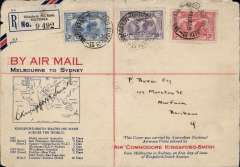 (Australia) FDI Kingsford Smith 2d, 3d & 6d set of 3 on special Melbourne-Sydney registered (label) souvenir cover, posted Melbourne 19/3, arrived Fortitude Valley 21/3 via Brisbane 20/3, signed by the pilot, Sir Charles Kingsford Smith, Australian National AW. Top corner nibbles and top edge wear, otherwise good. See Image.