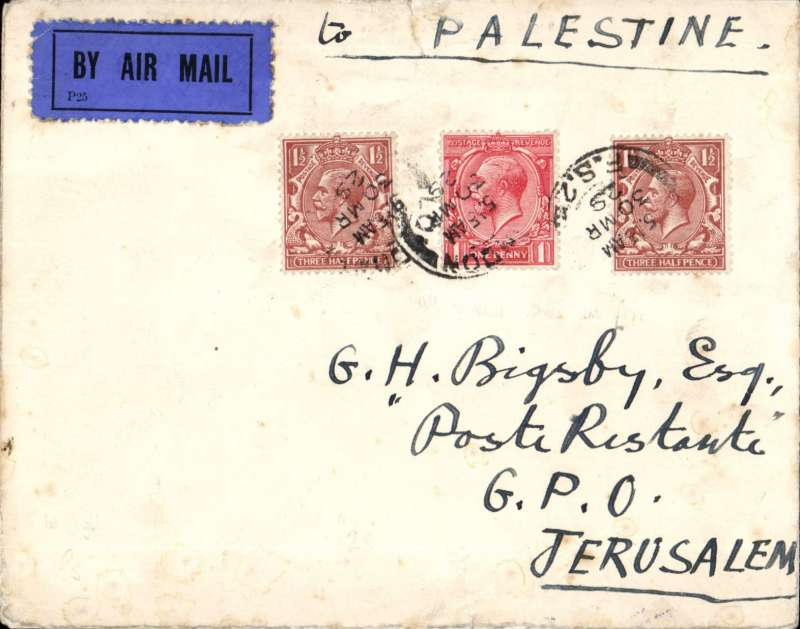 (GB External) London to Jerusalem, b/s 4/4, carried on F/F Croydon-Karachi, airmail etiquette cover correctly rated 4d, Imperial Airways, scarce Newall 120pts. Small non invasive closed top edge tear, see image.