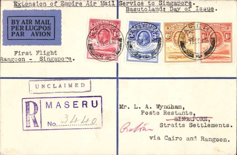 (Basutoland) Basutoland to Singapore, bs 19/12, carried on the first flight of the imperial Airways extension from Rangoon to Singapore via Cairo, Wyndham registered (hs) cover franked FDI of the 1933 KGV 1d,3d,6d,1/-, canc Maseru/1 DEC/33 cds returned to Cape Town 'House of Parliament/23 MAR 34' cds verso.  Also original certificate of posting.  A superb item in fine condition.A superb item in fine condition.