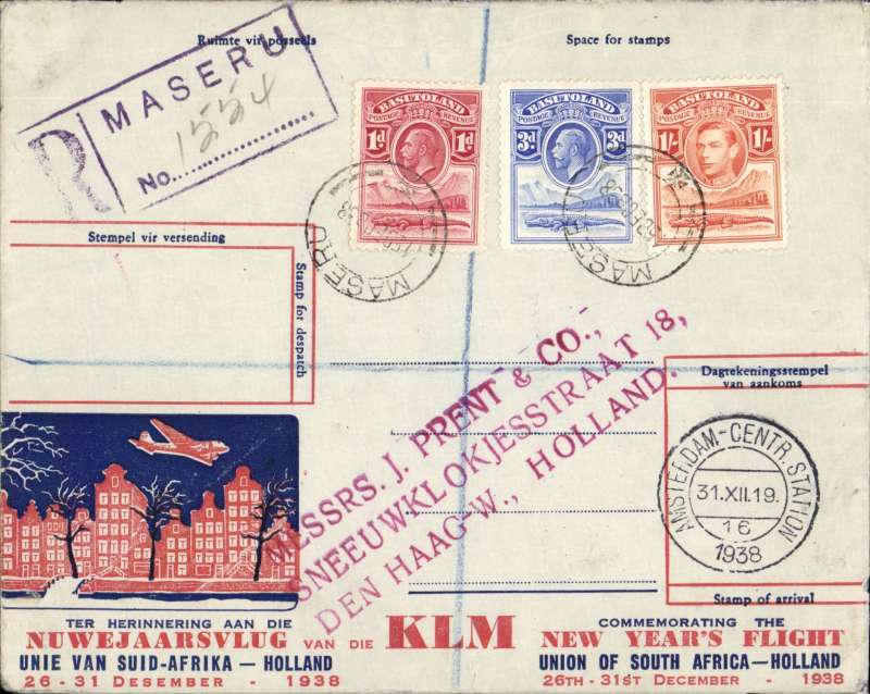 (Basutoland) Special KLM New Year's Flight, Maseru to Amsterdam, 31/12 arrival ds on front, registered (hs)  souvenir cover franked 1/-,3d, 1d GKV, carried by train to Bloemontain 16/12 transit cds and on to Johannesburg then OAT by KLM.