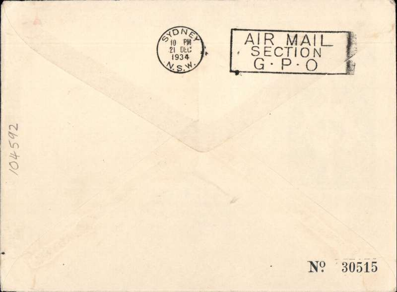 (Basutoland) Maseru to Australia, bs Sydney 21/12, first acceptance of African 'all the way' airmail for Australia for carriage on the Imperial Airways  African service to Cairo, to connect with the first extension of the IIA/ITCA/Qantas service from Singapore to Brisbane, official 'Kangaroo' cover franked 1/-, 6d and 2d, canc Maseru 3 Dec 34 cds. Scarce.