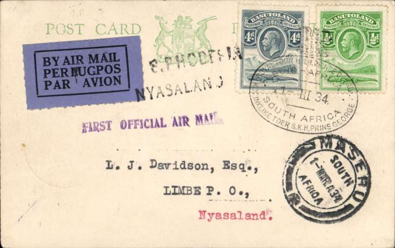 (Basutoland) Prince George Royal Tour, first official mail to Nyasaland, card franked KGV 4d, 1d tied South African Royal Tour canceller used on arrival f Royal Train at  Maseru also Maseru cds,  carried by train via Bloemfontein to Johannesburg to link with Imperial Airways flight to Salisbury bs 8/3 and on 1st RANA Salisbury/ Blantyre flight bs 9/3. Lovely item.