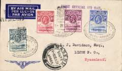 (Basutoland) Prince George Royal Tour, first official mail to Nyasaland, cover franked KGV 1d,2d,3d,4d, tied by South African Royal Tour canceller used on arrival of Royal Train at  Maseru also Maseru cds,  carried by train via Bloemfontein to Johannesburg to link with Imperial Airways flight to Salisbury bs 8/3 and on 1st RANA Salisbury/ Blantyre flight bs 9/3. Lovely item.