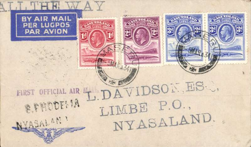 (Basutoland) Prince George Royal Tour, first official mail to Nyasaland, cover franked KGV 1d,2d,3d, 4d, tied by South African Royal Tour canceller used on arrival of Royal Train at  Maseru also Maseru cds,  carried by train via Bloemfontein to Johannesburg to link with Imperial Airways flight to Salisbury bs 8/3 and on 1st RANA Salisbury/ Blantyre flight bs 9/3. Lovely item.