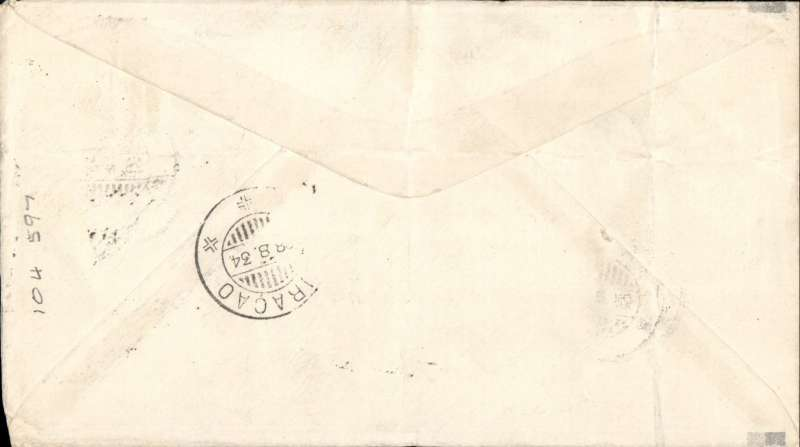 (Netherlands Antilles) Netherlands Antilles-Curacao TEST FLIGHT Mu#24a Aruba 28/8/34 to Curacao 28/8, special 10c surcharged stampTwo ironed vertical creases verso.