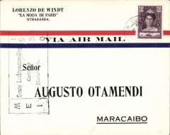 (Netherlands Antilles) Pan Am F/F Curacao to Maracaibo bs 6/5, Otamendi airmail cover franked 25c, black flight cachet.