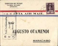 (Netherlands Antilles) Pan Am F/F Curacao to Maracaibo bs 6/5, Otamendi airmail cover franked 25c, black flight cachet.Faint tone spots, see scan
