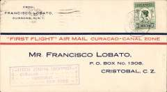 (Netherlands Antilles) Curacao extension, F/F FAM 5, Curacao to Cristobal, purple cachet, b/s, souvenir cover franked 50c, Pan Am.  Carried by Sikorsky S-38A amphibian.