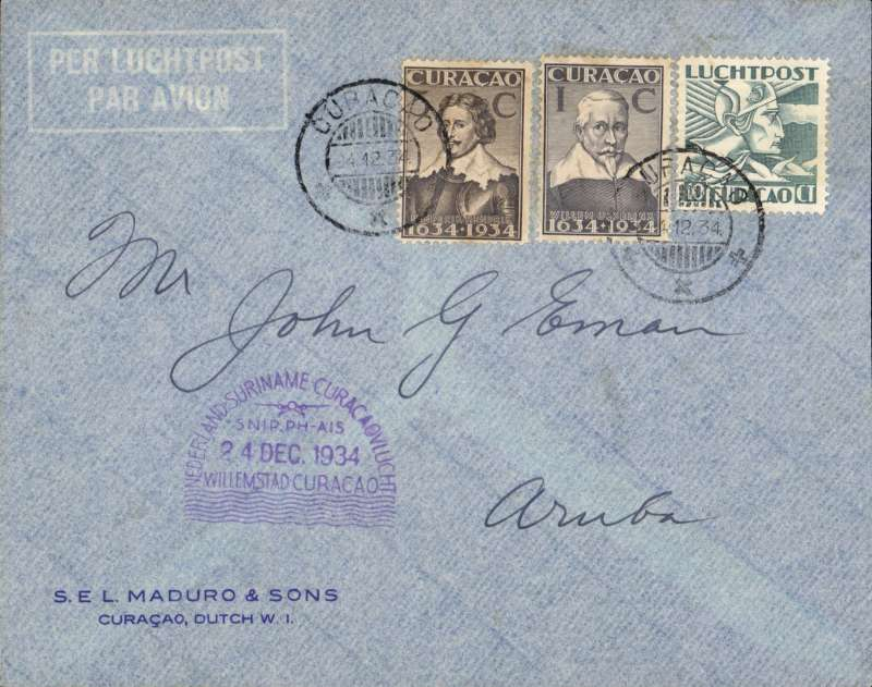 (Netherlands Antilles) F/F Curacao to Aruba, Mu#24a Aruba 28/8/34 to Curacao 28/8, Muller 25a, franked 16c, and violet 'domed' Curacao 22/12 arrival cachet verso.