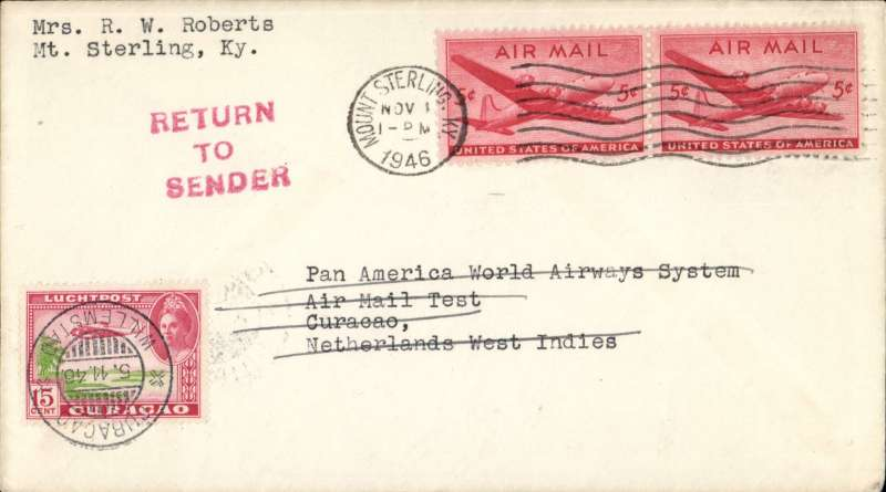 """(Netherlands Antilles) Airmail round trip test cover to Curacao, bs 2/11, franked 10c Transport, canc New York, NWI stamps 30c cancelled for the return, and blue PAA Office """"Received  Nov 2"""" cachet verso, Pan Am. See article  in Apr/June 1998 JLKAL by R Saundry about the, as yet, unrecognized, scarcity of these covers."""