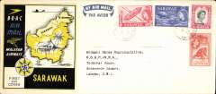 (Sarawak) Sarawak to London, bs 4/10, flown BOAC/Malayan Airways, souvenir cover franked Sarawak 2c,8c,15c and 50c.