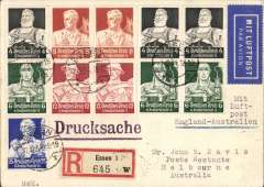 (Germany) Germany acceptance for the Imperial Airways F/F London to Australia, Essen to Melbourne, bs 22/12,  registered (label) card franked 95pf Workers to 25pf blue including 4, 6 and 8 values seldom seen in pairs. A scarce item in fine condition.