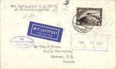(Airship) First Trans-Atlantic crossing to Lakehurst, bs New York 16/10, and on to Qebec bs 17/10, oval blue flight cachet, plain cover franked 4Rm Zeppelin stamp tied Friedrichshafen/Luftpost cds.