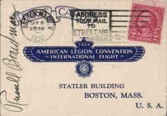 (United States) Non-Stop Flight New York - Istanbul, Boardman and Polando,  American Legion card postmarked Boston, Sep 8, and backstamped Istanbul, Jul 30, 1931, signed by Russell Boardman front and verso. See AmAMC T/O1145a.