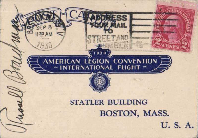 (United States) Non-Stop Flight New York - Istanbul, Boardman and Polando,  American Legion card postmarked Boston, Sep 8, and backstamped Istanbul, Jul 30, 1931, signed by Russell Boardman front and verso.
