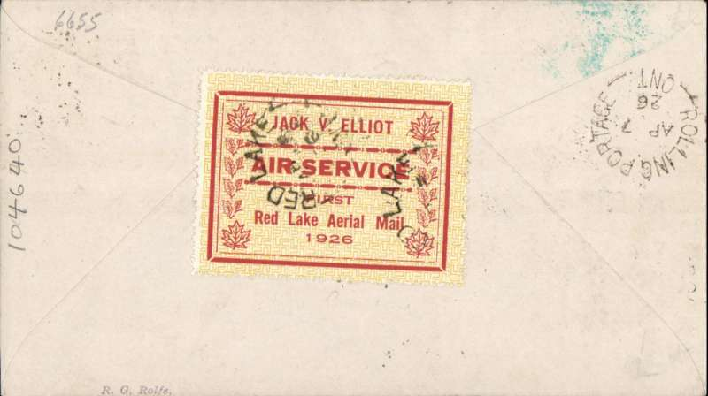 (Canada) Red Lake to Rolling Portage, bs 7/4, also departure ds applied to semi official yellow/red company stamp CL7 (swastika design) verso, Jack V Elliot Air Service.