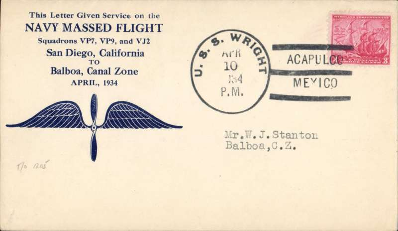 (United States) Navy Massed Flight, Calforia to Canal Zone, winged propeller souvenir cover franked 3c, canc USS Wright Acapulco/Mexico. AmAMC T/O 1205.