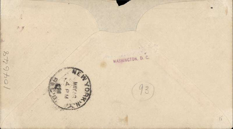 (United States Internal) First flight Washington to New York, fine arrival cds verso 'NEW YORK/MAY/ 16 4pm/1918/RECD', plain cover franked 24c air mail stamp canc  '*****AIR WASHINGTON/****/1918/FIRST TRIP', black 'Fee Claimed'hs and typed 'Airplane Mail'.Non invasive top edge nick.