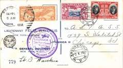 (Lithuania) Attempted non stop flight New York-Lithuania, Kaunas 2/10 arrival cds on front, printed souvenir cover, franked US 6c canc Brooklyn 21/9 cds, also 30c Lithuania ordinary stamps canc Kaunas 1/10, circular violet flight cachet, black 'Lithuanian Aero Club' cachet, signed by pilot Lt. Waitkus.