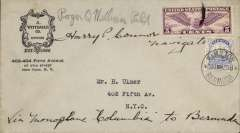 """(Bermuda) First non stop world record flight New York to Bermuda and return, Williams pilot and Connor navigator, Longine Watch corner cover franked US 5c dropped over Bermuda (severe storm prevented landing) where 2 1/2d Bermuda stamp was affixed canc Bermuda 20 June 1930 cds for return to US, ms """"Via Monoplane 'Colombia' to Bermuda"""" and signed by Roger Q Williams and Harry P Connor. A rare item in fine condition. See Clarke 1990 # 30.2a/2b Val $300.00.               Roger Q. Williams, barnstormer, stunt and test pilot, with Canadian World War I veteran Captain J. Errol Boyd as co-pilot and Lieutenant Harry P. Connor, a U.S. Navy-trained navigator, planned to fly Miss Columbia, a Wright-Bellanca WB-2 single-engine monoplane with wheels, on a nonstop, round-trip flight to Bermuda from Long Island in June 1930,"""