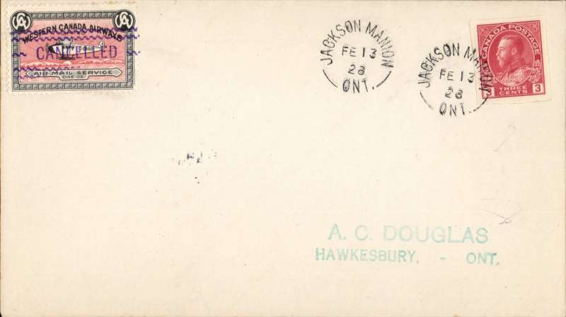 (Canada) Jackson Mannion to Hawkesbury, 25/2, cover franked with 3c. red plus Western Canada Airways Service CL 40) label tied wavy lined CANCELLED.
