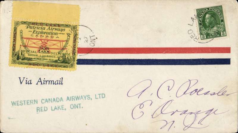 (Canada) Red Lake to Sioux Lookout, bs 24/3, cover franked with 2c. plus Patricia Airways Exploration C13 tied by Red Lake cds, also green two line 'Western Canada Airways Ltd/Red Lake, Ont'.