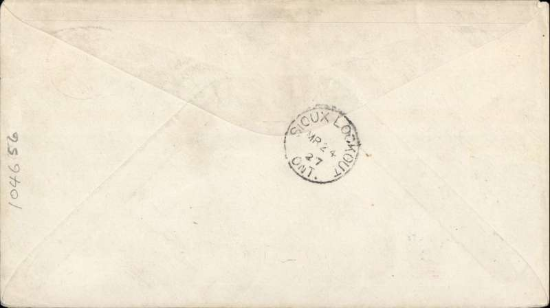 (Canada) Red Lake to Sioux Lookout, bs 24/3, cover franked with 2c. plus Patricia Airways Exporation C13 tied by Red Lake cds, alo green two line 'Western Canada Airways Ltd/Red Lake, Ont'.