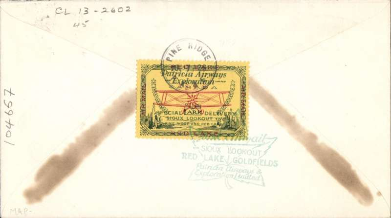 (Canada) F/F Sioux Lookout to Pine Ridge, franked 2d, bs 7/7 tied verso by CL13, AM C&N #2602.