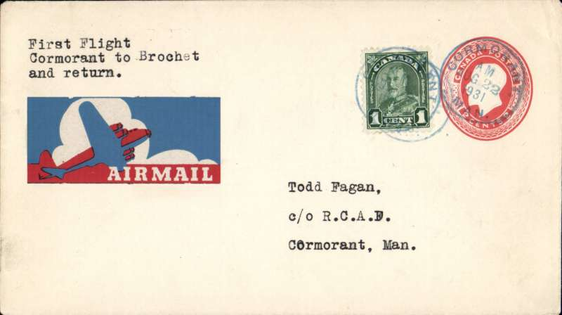 (Canada) Special summer service by planes of RCAF, Lac du Brochet to Cormorant, 2c PSE + 1c, POA Cormorant Aug 22/1931, unusual and attractive airmail etiquette, AMC C&N 3157g.