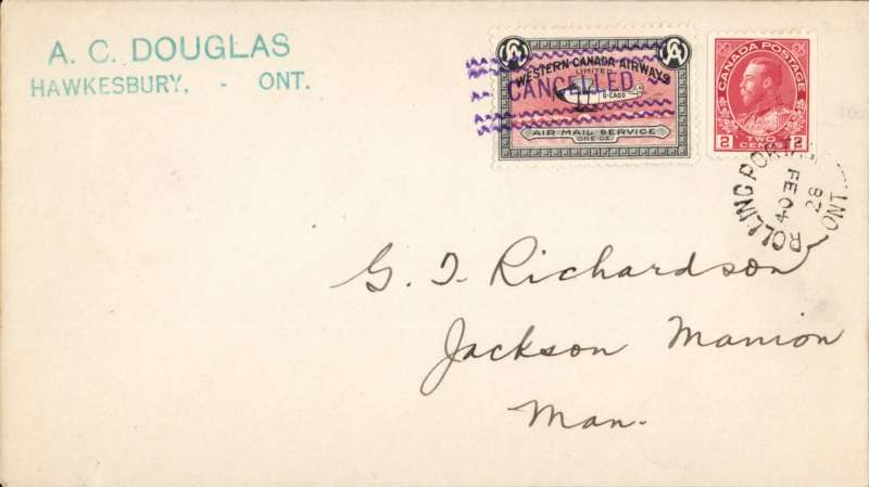 (Canada) CL40, Western Canada Airways tied on cover franked 2c flown on Feb 1928 flight  from Rolling Portage to Jackson Mannion 13/2.