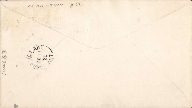 (Canada) CL40, Western Canada Airways tied on cover franked 2cflown on Feb 1928 flight  from Rolling Portage to Narrow Lake.