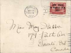 (Newfoundland) Attempted flight, Botwood to Halifax, bs 'Halifax/Feb 4/N.S.',  plain cover franked 35c Cabot opt. no stop after 1921, canc St John's NFD/Nov 20/1921.1cm non invasive top edge tear and some flap damage visible verso only, see scan. C&NF AMC FF9b.