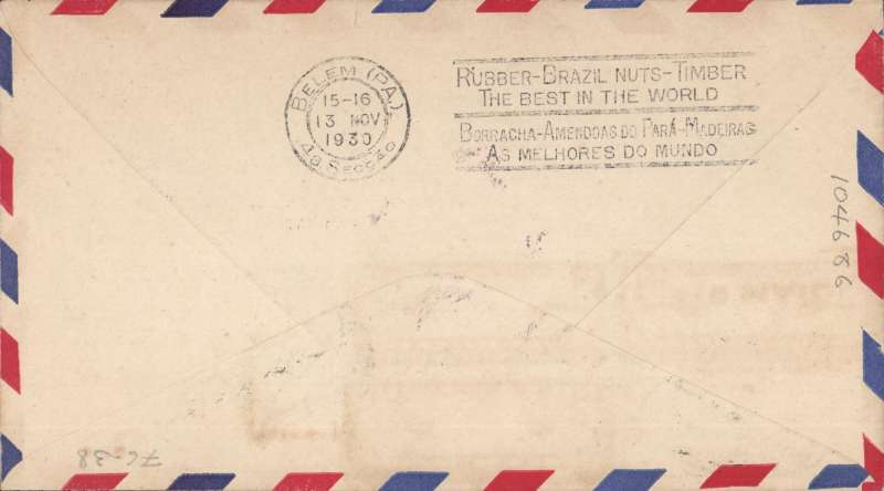 (United States) F/F FAM 10, Miami to Para, Brazil, bs 13/11 via Cayenne, violet rectangular cachet, registered cover, franked 50c .