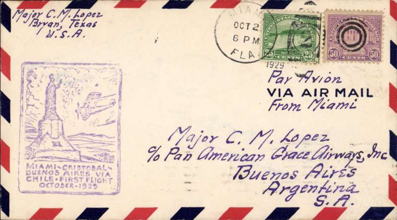 (United States) F/F FAM 9, Miami to Buenos Aires, violet rect cachet, bs 14/10, via Cristobal 14/10, Pan American-Grace Airways. Carried by Sikorsky S-38A amphibian to Guayaquil, then Ford trimotor landplanes across the Andes to BA.