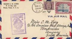 (United States) F/F FAM 9, Miami to Montevideo, violet rect cachet, bs, via Cristobal 14/10, Pan American-Grace Airways. Carried by Sikorsky S-38A amphibian to Guayaquil, then Ford trimotor landplanes across the Andes to BA.