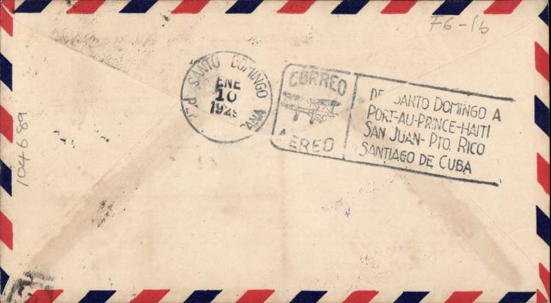 (United States) F/F FAM 6, Miami to Santo Domingo, bs 10/1, boxed flight cachet,  Pan Am, ? pilot signed.