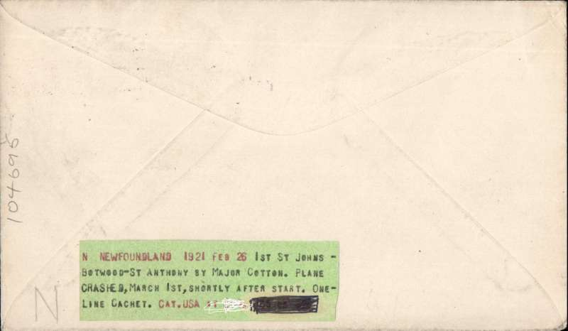 """(Newfoundland) Cotton flight, projected flight Botwood to St Anthony, franked 1c, 2c Caribou, canc St Johns 26/2, black st. line """"Air Post St Anthony"""" cachet, typed """"Per Airship"""", AAMC FF5."""