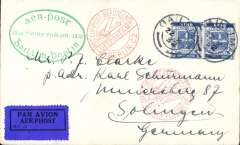(Ireland) Special flight, Dublin to Berlin, green oval cachet, red 22/10/28 Berlin C2 receiving cachet, red Berlin receivers x2, etiquette rated very scarce by Mair, printed souvenir cover.