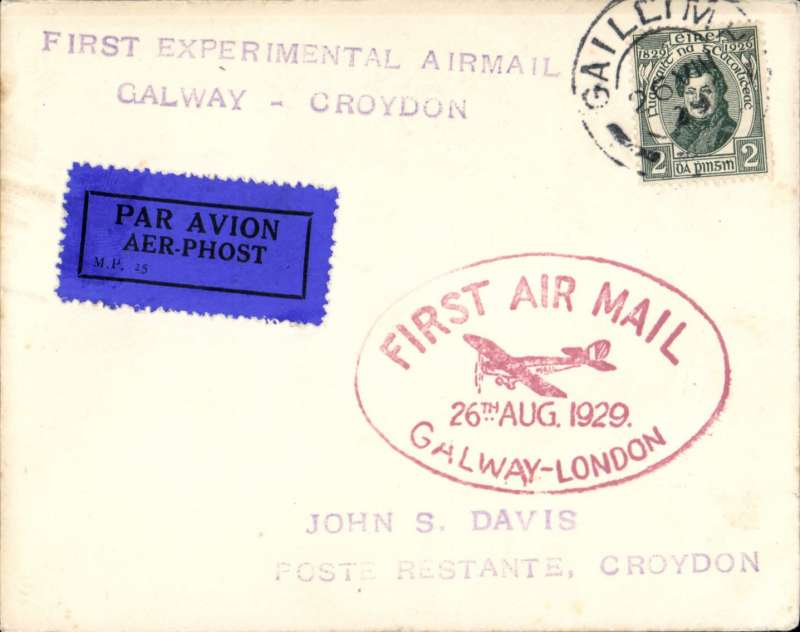 (Ireland) Experimental flight Galway to London, cover franked 2p canc Galway cds, red oval flight cachet, violet two line 'First Experimental Airmail/Galway-Croydon', Irish Airways Ltd