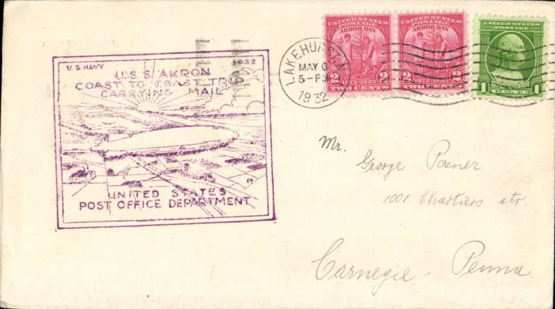 (Airship) USS Akron (ZR4) Coast to Coast Trip, cancelled Lakehurst NJ, violet boxed United States Post Office Dept cachet on front and oval dr USPOD cachet verso.