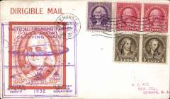 (Airship) USN Airship 'Akron' Tactical Training Flight from Lakehurst Aug 1, 1932 and return Aug 2, attractive Roessler red 'Dirigable Mail' souvenir card franked 8c, canc Lakehurst cds, official violet rectangular flight cachet on front , and blue flight cachet verso, .