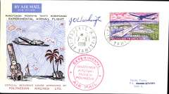 (French Poynesia) Polynesian Airlines Ltd F/F Papeete to Rarotonga bs 8/3, pilot signed