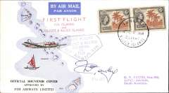 (Gilbert and Ellis Islands) F/F Funafuti to Adelaide, bs 10/7, official souvenir cover, Fiji Airways