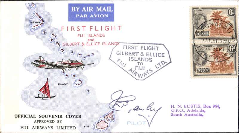 (Gilbert and Ellis Islands) F/F Funafuti to Adelaide, bs 10/7, official souvenir cover, Fiji Airways, pilot signed